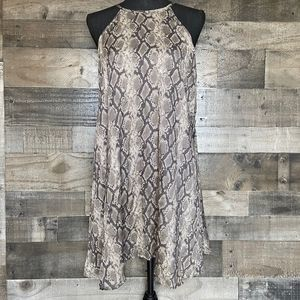 Cloth & Stone Snake Print Halter Back Tie Dress